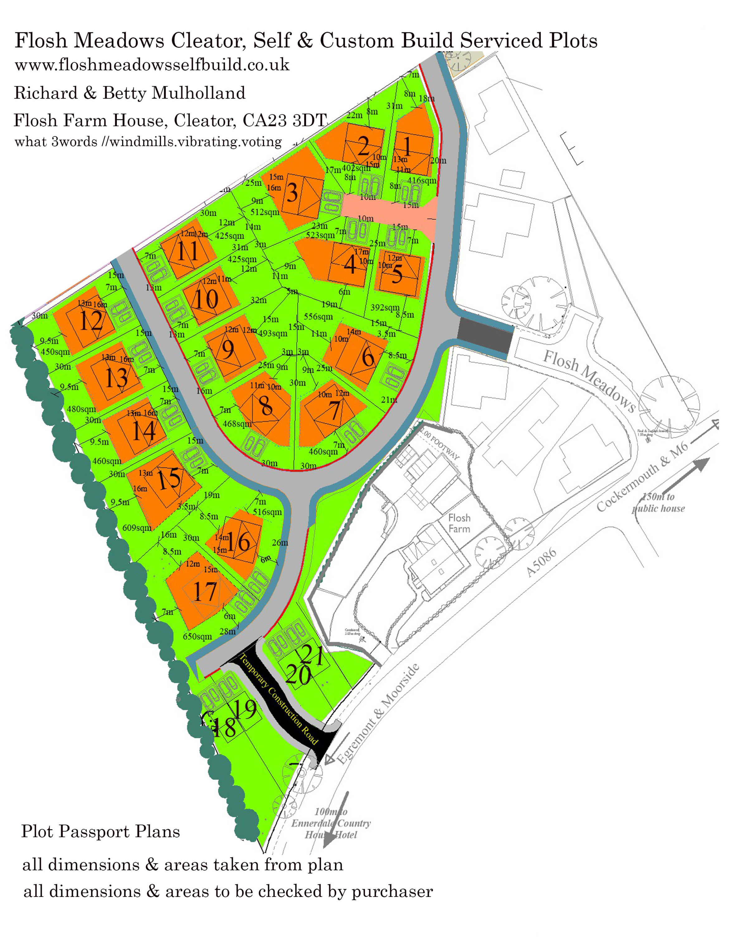 Flosh Meadows Serviced Plots, Cleator-The Meadow- Lengths and Areas-01 Feb 2020